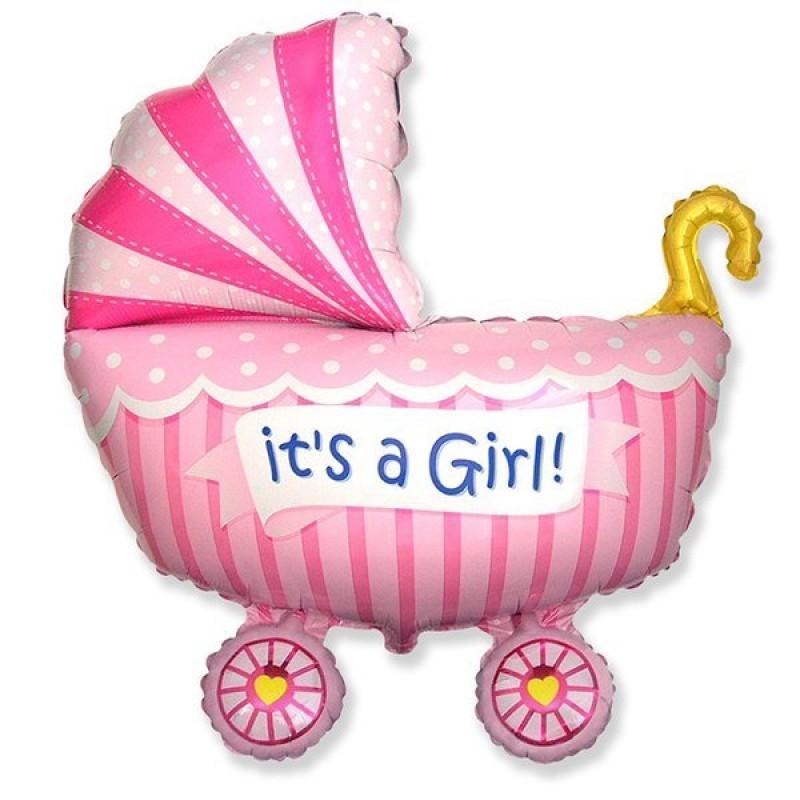 """Фольгированный шарик """"Коляска для девочки"""""""