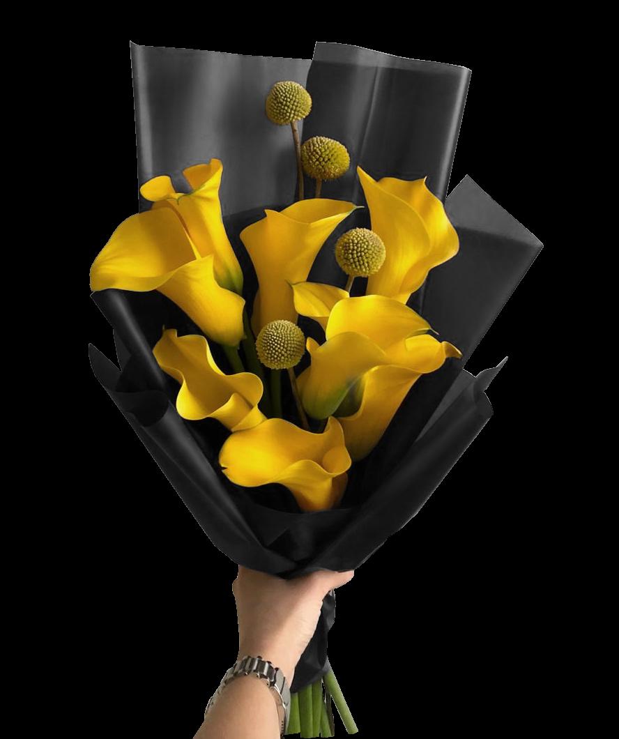 Желтые каллы и краспедия