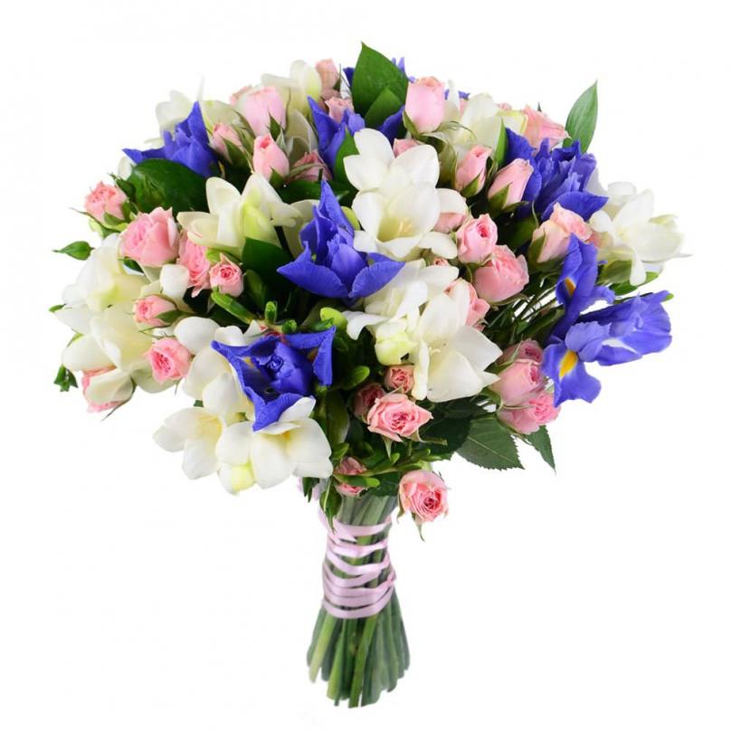 Из синих ирисов, кусовых роз и фрезий