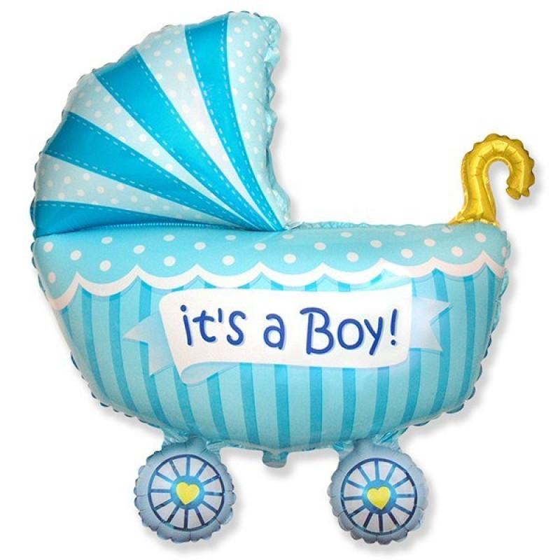 """Фольгированный шарик """"Коляска для мальчика"""""""